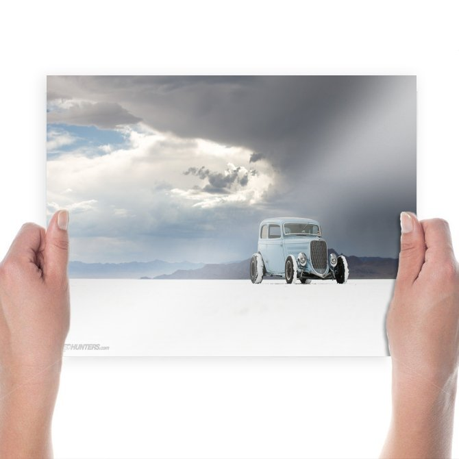 Hot Rod Sky Clouds Salt Flat Tv Movie Art Poster 24x18 inch