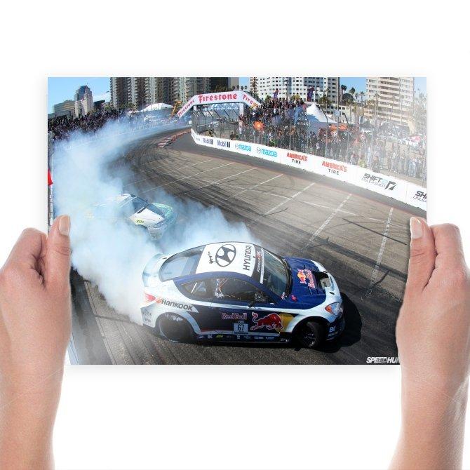 Hyundai Tiburon Drift Burnout Smoke Race Track Race Track Tv Movie Art Poster 24x18 inch