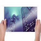 Skyscraper Skyscrapers Clouds Tv Movie Art Poster 24x18 inch