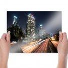 Los Angeles Buildings Skyscrapers Night Freeway Highway Lights Timelapse Tv Movie Art Poster 24x18 i
