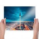Berlin Tower Buildings Sunset Timelapse Tv Movie Art Poster 24x18 inch