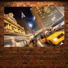 New York Street Buildings Taxi Hdr Skyscrapers Tv Movie Art Poster 36x24 inch