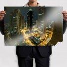 Buildings Skyscrapers Night Lights Timelapse Fisheye Tv Movie Art Poster 36x24 inch