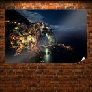 Buildings Night Ocean Coast Stars Tv Movie Art Poster 36x24 inch