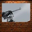 Machine Gun Gray Grey Tv Movie Art Poster 36x24 inch