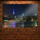 Buildings Skyscrapers New York Night Lights Tv Movie Art Poster 36x24 inch