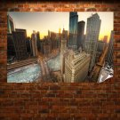 Chicago Buildings Skyscrapers Hdr Sunset Winter Tv Movie Art Poster 36x24 inch