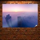 Buildings Skyscrapers Fog Mist Sunset Tv Movie Art Poster 36x24 inch