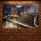 Chicago Buildings Skyscrapers Night Train Timelapse Tv Movie Art Poster 36x24 inch