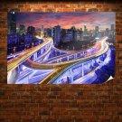 Buildings Skyscrapers Freeway Highway Timelapse Night Lights Overpass Tv Movie Art Poster 36x24 inch