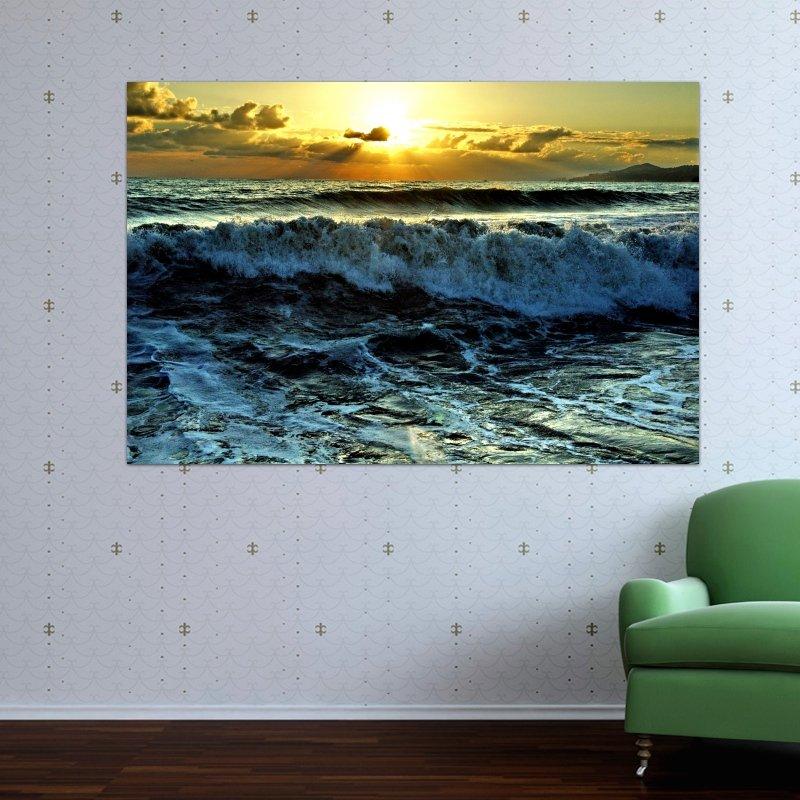 Ocean Waves  Art Poster Print  36x24 inch