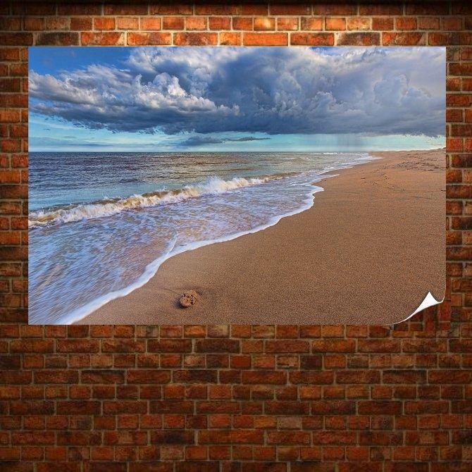 Beach Rain  Art Poster Print  36x24 inch
