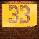 Kobe Bryant 33 Lakers Nba  Art Poster Print  36x24 inch