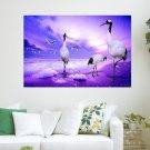 Art Birds Fantasy Purple Background  Art Poster Print  36x24 inch