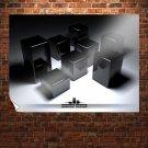 Black Cubes  Art Poster Print  32x24 inch