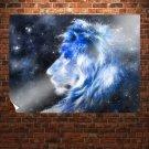 Blue Lion Of Star  Art Poster Print  32x24 inch