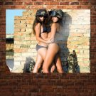 Two Sexy Army Girls  Art Poster Print  32x24 inch