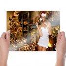 Christmas Hot Girl  Art Poster Print  24x18 inch