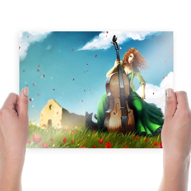 Playing Cello In Wind  Art Poster Print  24x18 inch