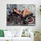 Lowrider Girl Posing On Bike  Art Poster Print  24x18 inch