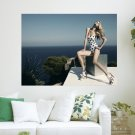 Blonde In Swimsuit  Art Poster Print  24x18 inch