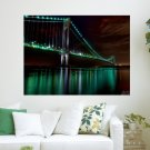 The Golden Gate Bridge Night View  Art Poster Print  24x18 inch