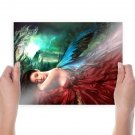 Winged Beauty  Art Poster Print  24x18 inch