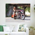 Bike Babe  Art Poster Print  24x18 inch