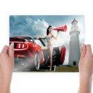 Hot Car Model Hd  Art Poster Print  24x18 inch