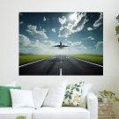 Landing Airplane  Art Poster Print  24x18 inch