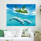 Happy Dolphins  Art Poster Print  24x18 inch