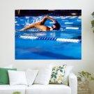 Swimming Race  Art Poster Print  24x18 inch
