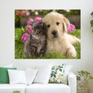 Dog And Cat  Art Poster Print  24x18 inch
