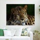 Big Exotic Cats The Extinction Of The Amur Leopard Fractalius Art Portrait  Art Poster Print  24x18