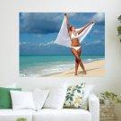 Woman Dancing With Sarong  Art Poster Print  24x18 inch