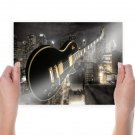 Les Paul In The City  Art Poster Print  24x18 inch