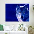 Blue Wolf  Art Poster Print  24x18 inch