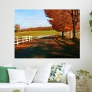 Autumn Country Road  Art Poster Print  24x18 inch