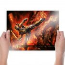 Fighting In Fire Calendar  Art Poster Print  24x18 inch