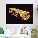 3d Neon Firetruck  Art Poster Print  24x18 inch