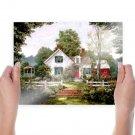 Summer Cottage  Art Poster Print  24x18 inch