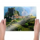 Village In Mountains  Art Poster Print  24x18 inch