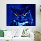 Blue Owl  Art Poster Print  24x18 inch