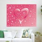 Pink Water Heart  Art Poster Print  24x18 inch