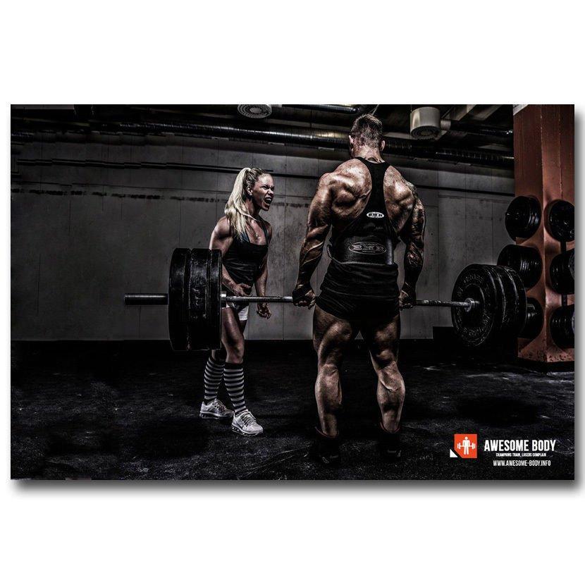 Bodybuilding Fitness Motivational Art PosterGym Decor 32x24