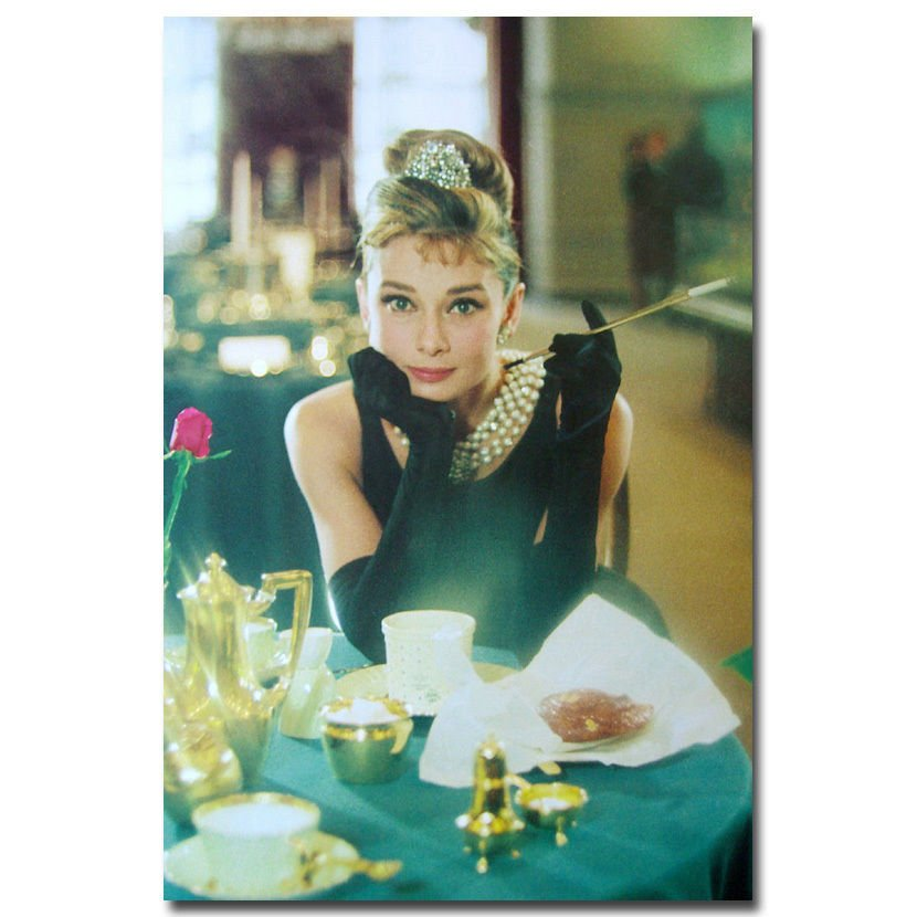 Audrey Hepburn Cigarette Movie Art Poster Breakfast At Tiffany S 32x24
