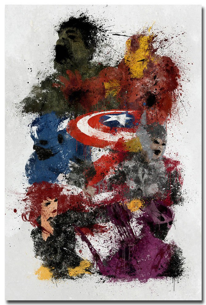 Avengers Age Of Ultron Movie Art Poster Captain America Hulk 32x24