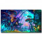 Mushroom House Psychedeli C Trippy Abstract Art Poster 32x24