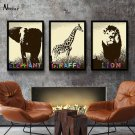 Minimalist Africa Animals Art Canvas Poster Picture Lion Elephant Giraffe 32x24