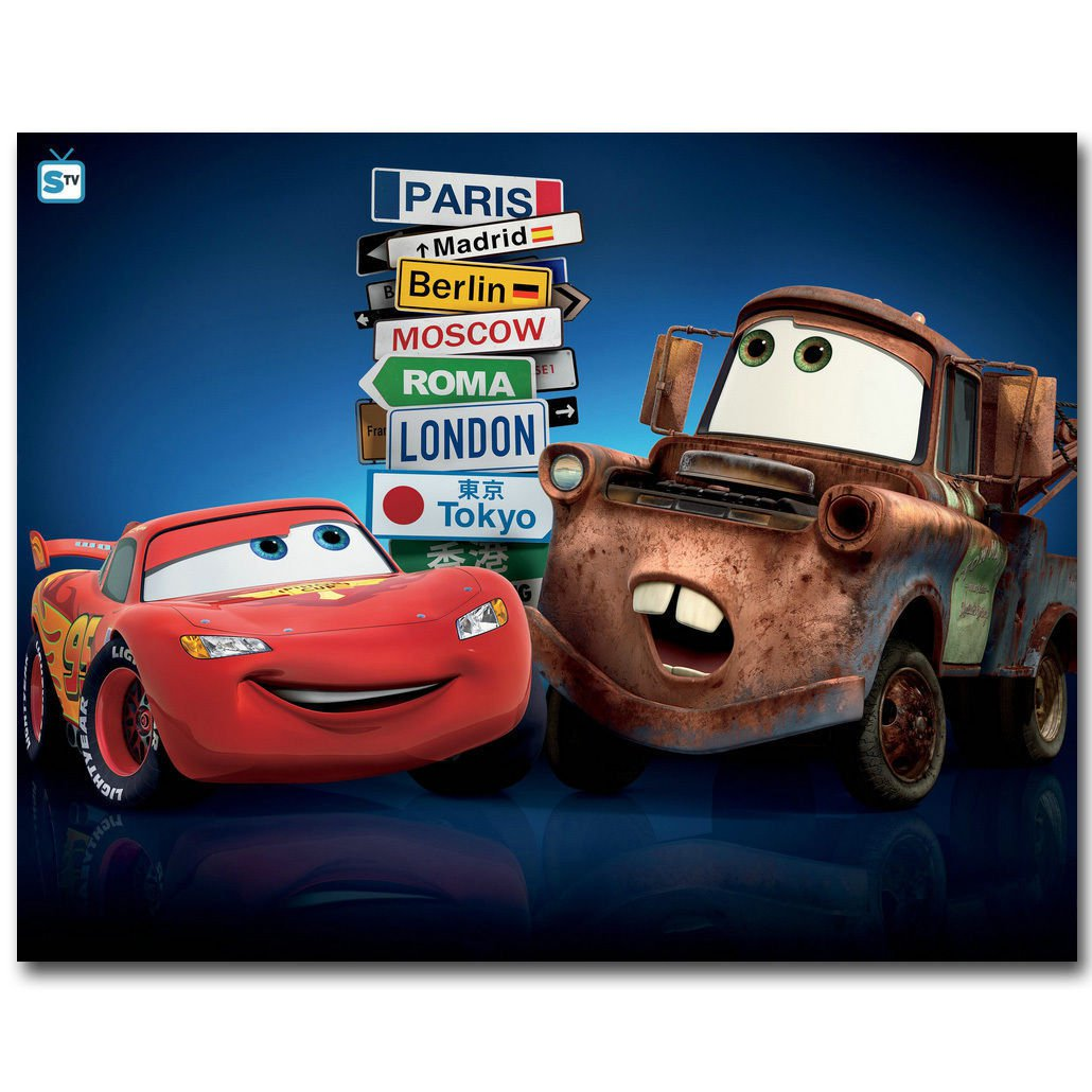 Cars Cartoon Movie Art Poster Huge Print 32x24